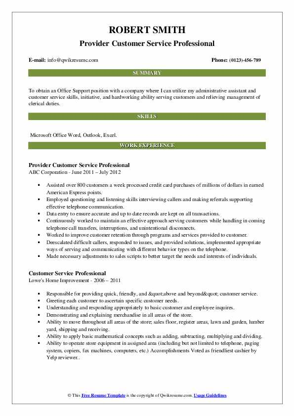 Provider Customer Service Professional Resume Template