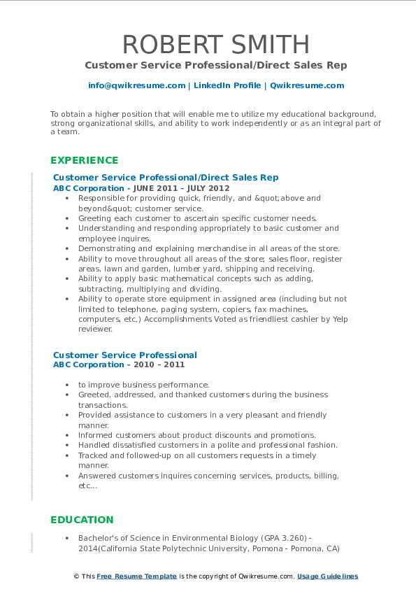 Customer Service Professional/Direct Sales Rep Resume Sample