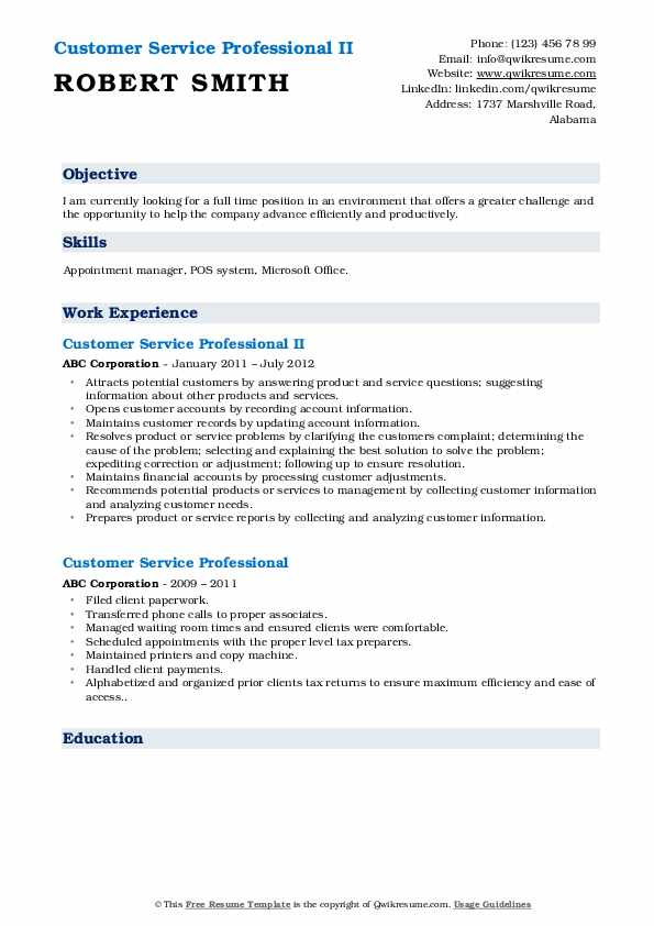 Customer Service Professional II Resume Example