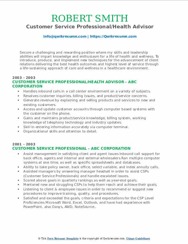 Customer Service Professional/Health Advisor Resume Format