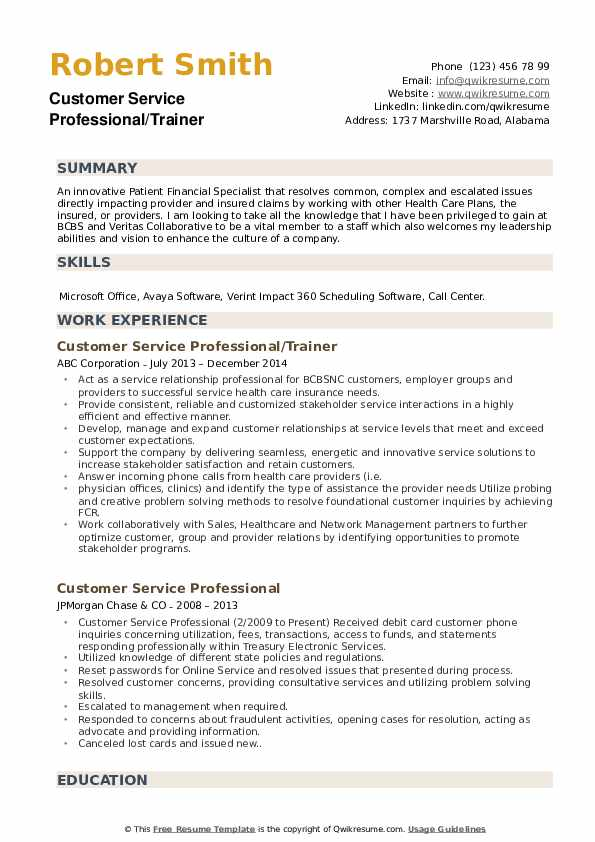 Customer Service Professional/Trainer Resume Example