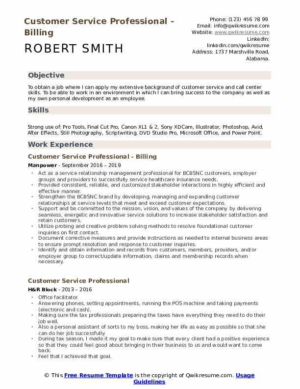 Customer Service Professional - Billing Resume Format