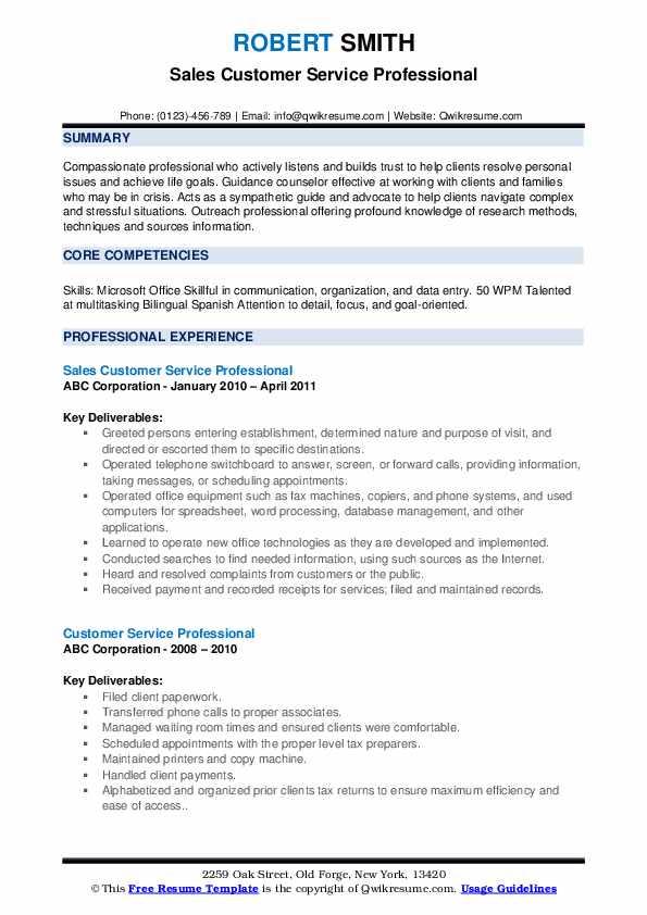 Sales Customer Service Professional Resume Format