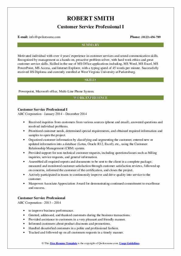Customer Service Professional I Resume Sample