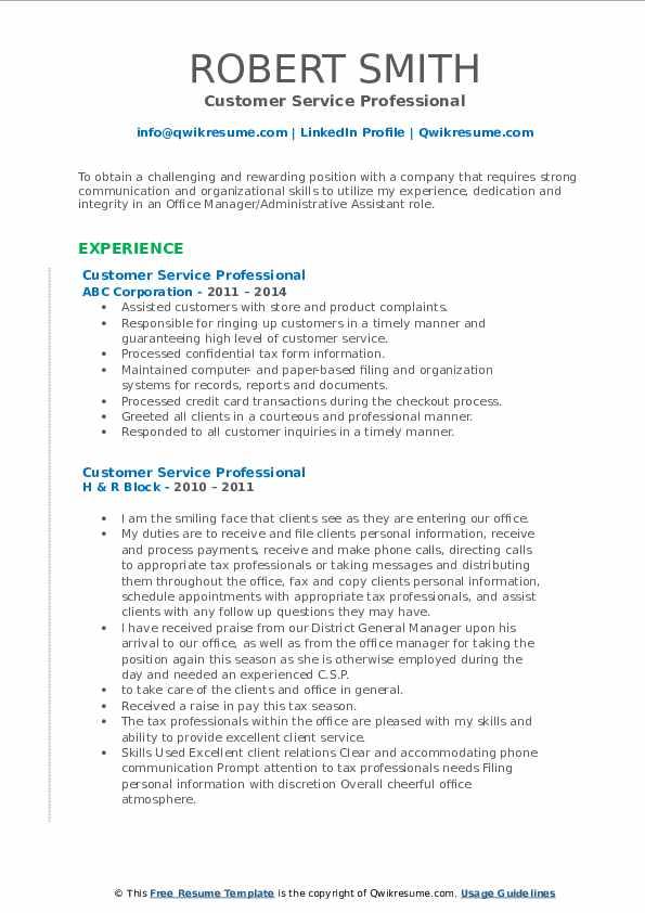 Customer Service Professional Resume example