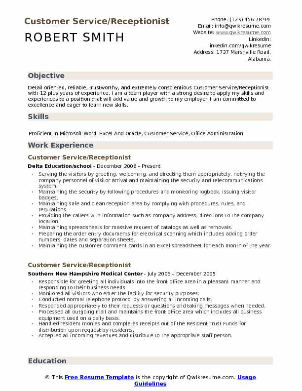 Customer Service/Receptionist Resume Format