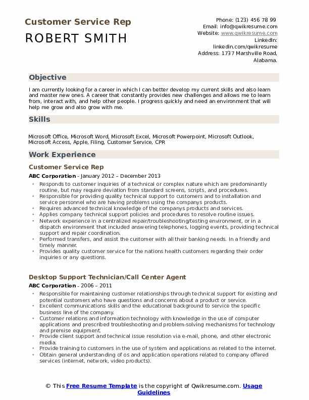 Customer Service Rep Resume Format
