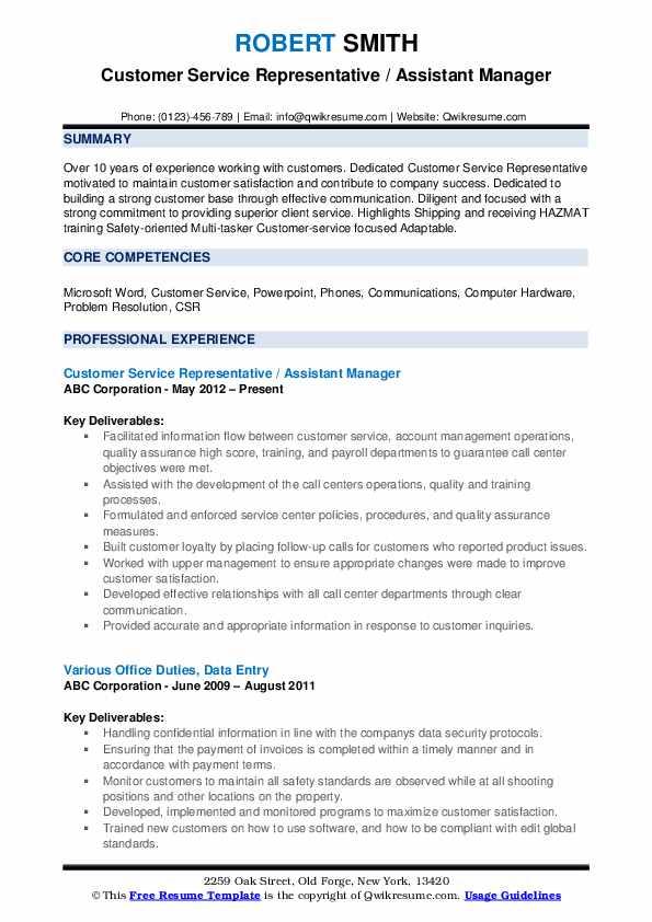 Customer Service Representative / Assistant Manager Resume Format