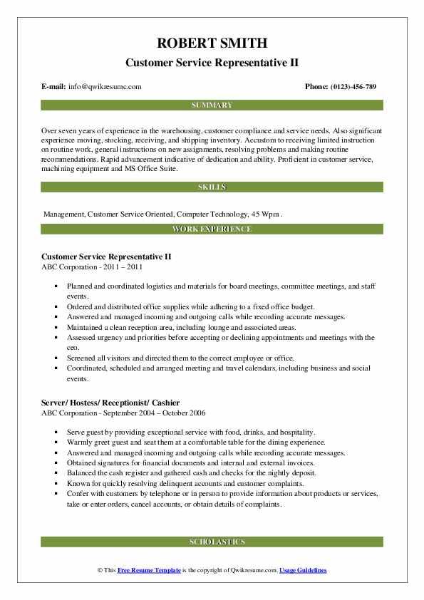 Customer Service Representative II Resume Example