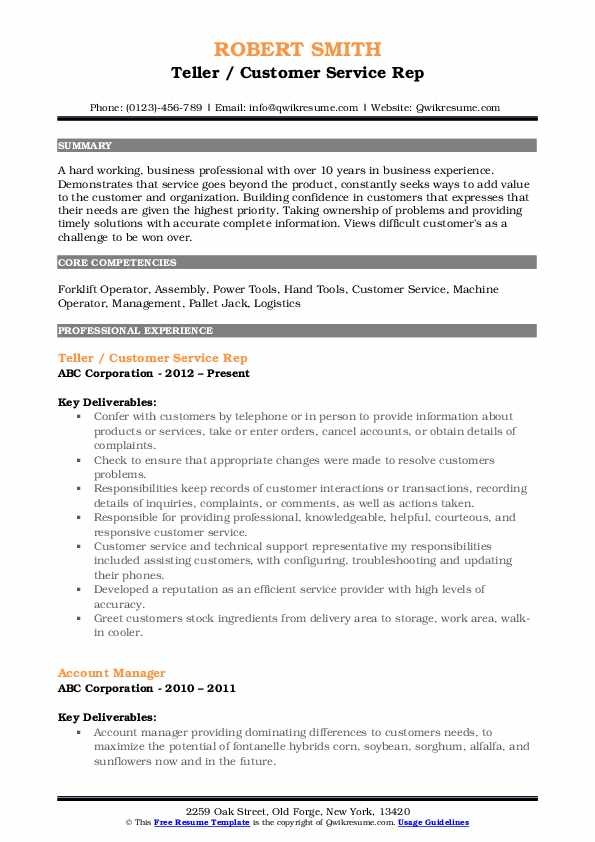 Teller / Customer Service Rep Resume Sample