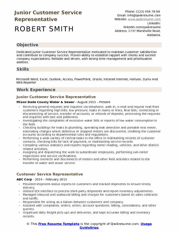 Junior Customer Service Representative  Resume Format