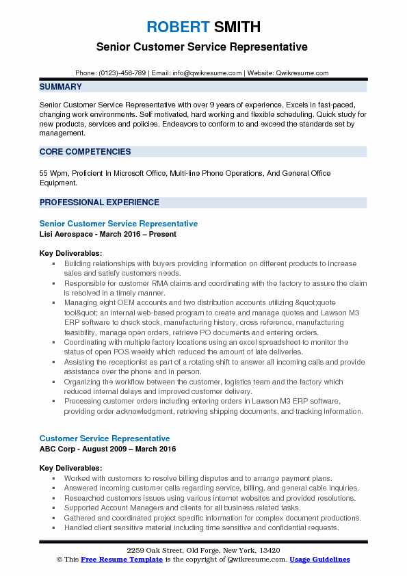Senior Customer Service Representative  Resume Format