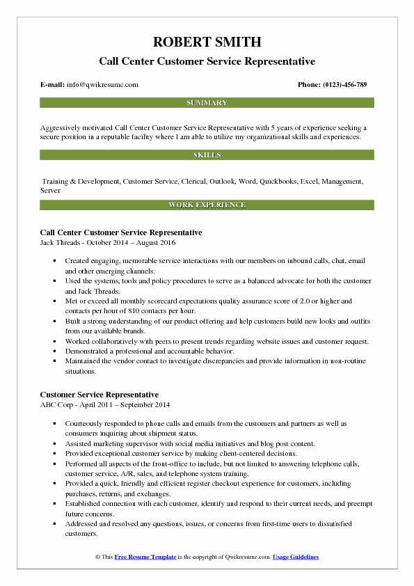 Call Center Customer Service Representative Resume Format