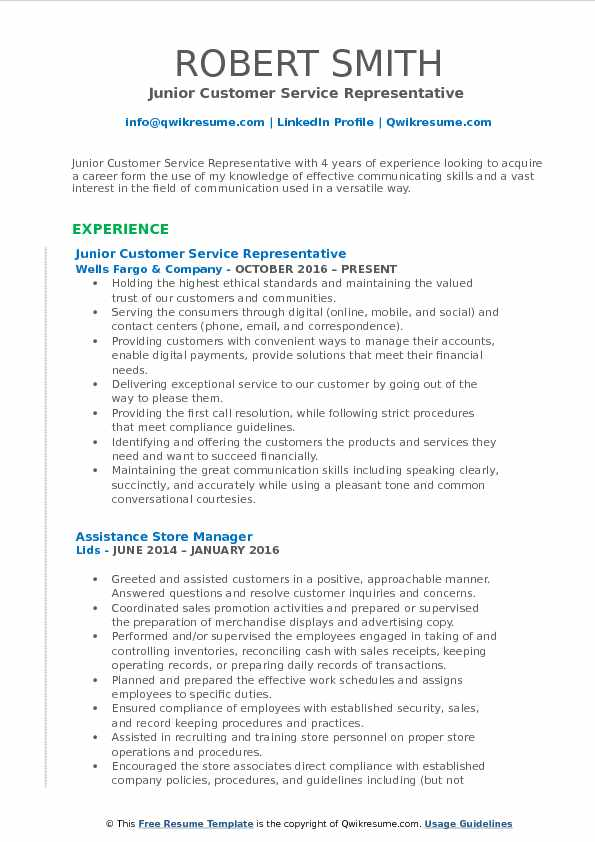 Junior Customer Service Representative  Resume Model