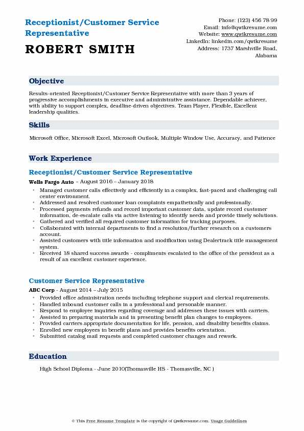 Receptionist/Customer Service Representative Resume Template