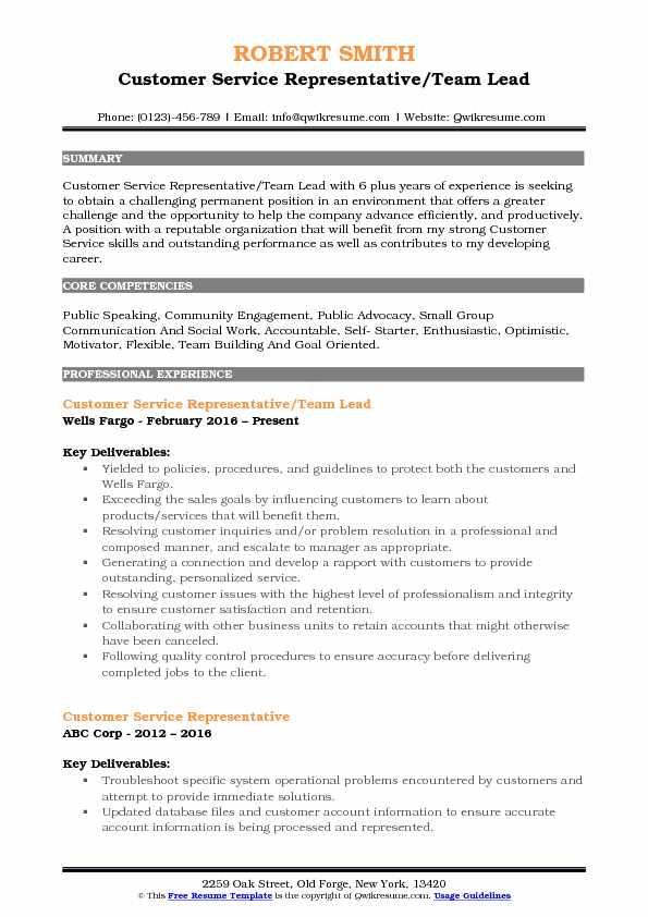 Customer Service Representative/Team Lead Resume Example