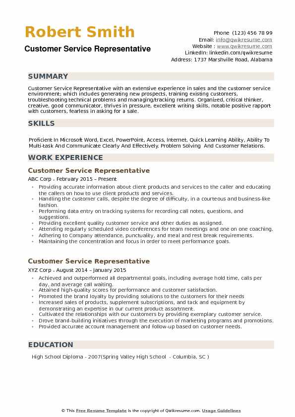 Customer Service Representative Resume Template 19