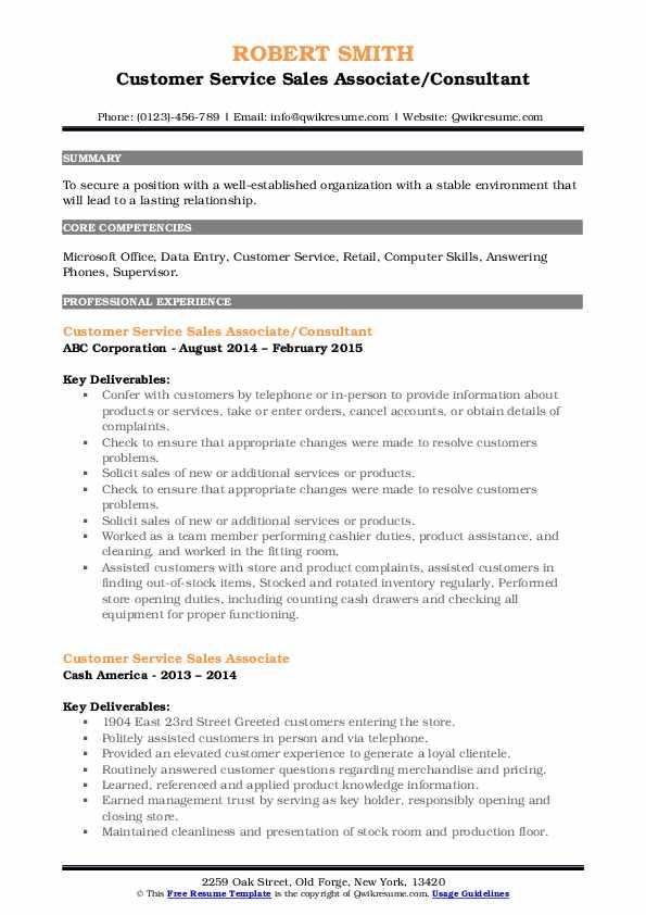customer service sales associate resume samples