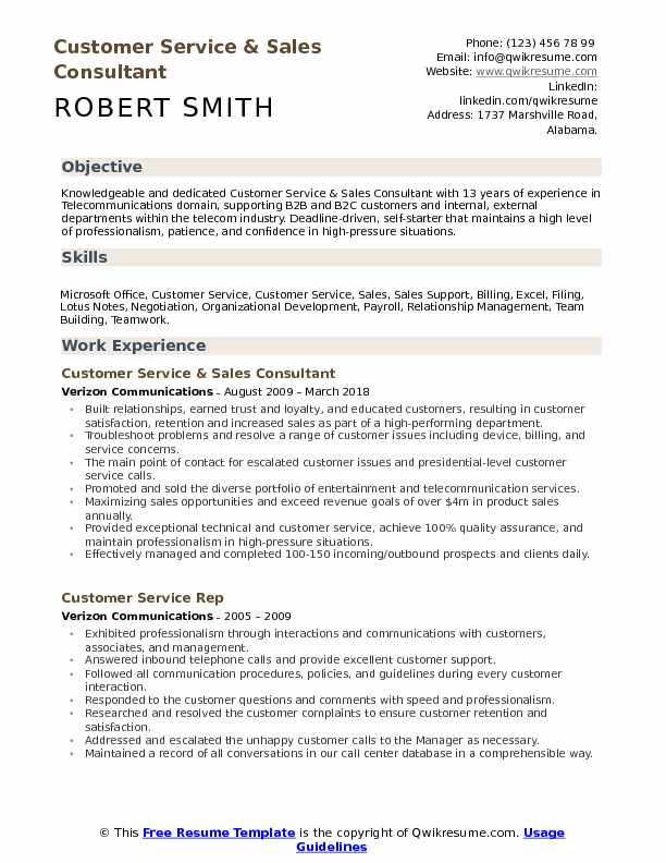 Customer Service Sales Consultant Resume Samples