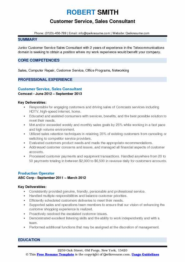 Customer Service, Sales Consultant Resume Example