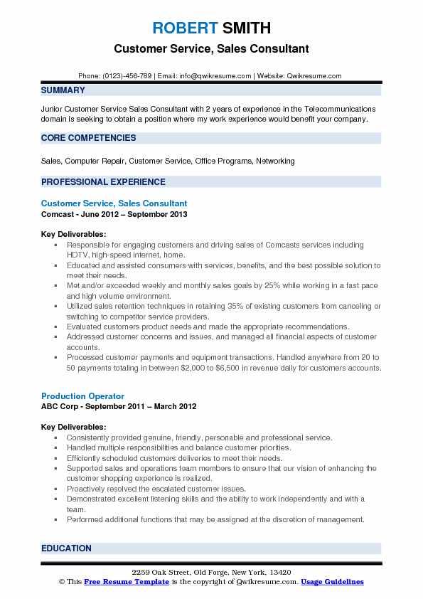 Customer Service, Sales Consultant Resume Sample