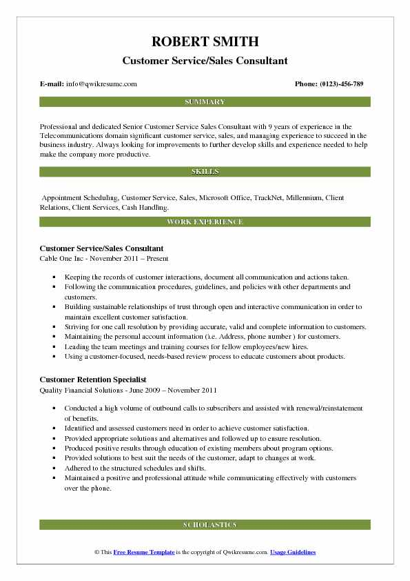 Customer Service/Sales Consultant Resume Model