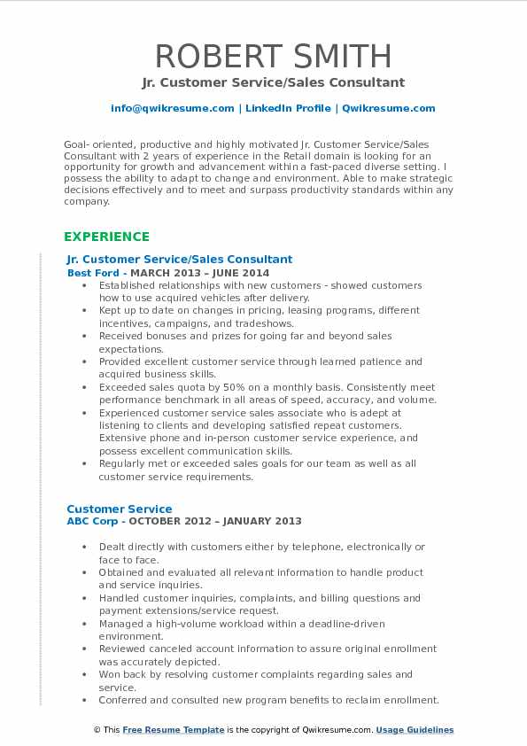 Jr. Customer Service/Sales Consultant Resume Example