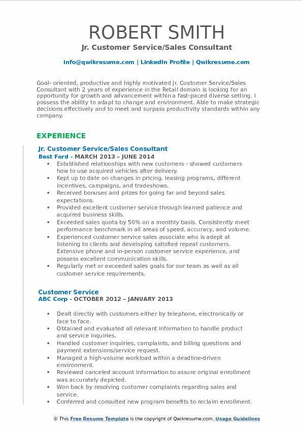 Jr. Customer Service/Sales Consultant Resume Sample