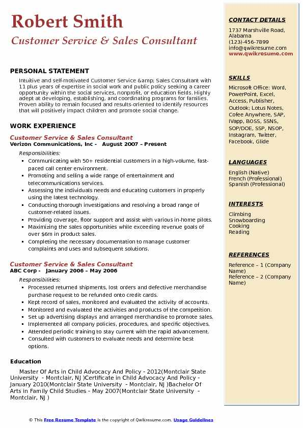 Customer Service & Sales Consultant Resume Example