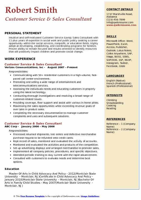 Customer Service & Sales Consultant Resume Model