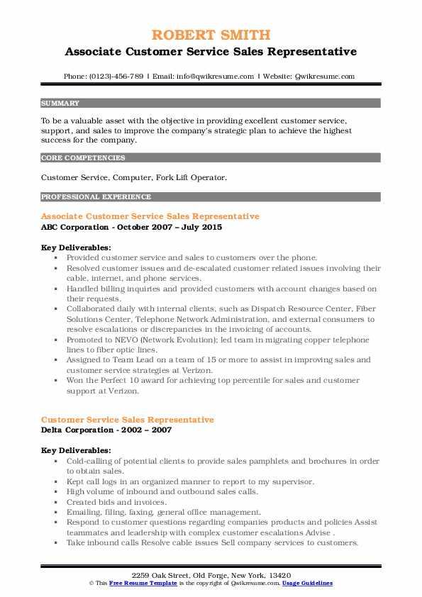 customer service sales representative resume samples