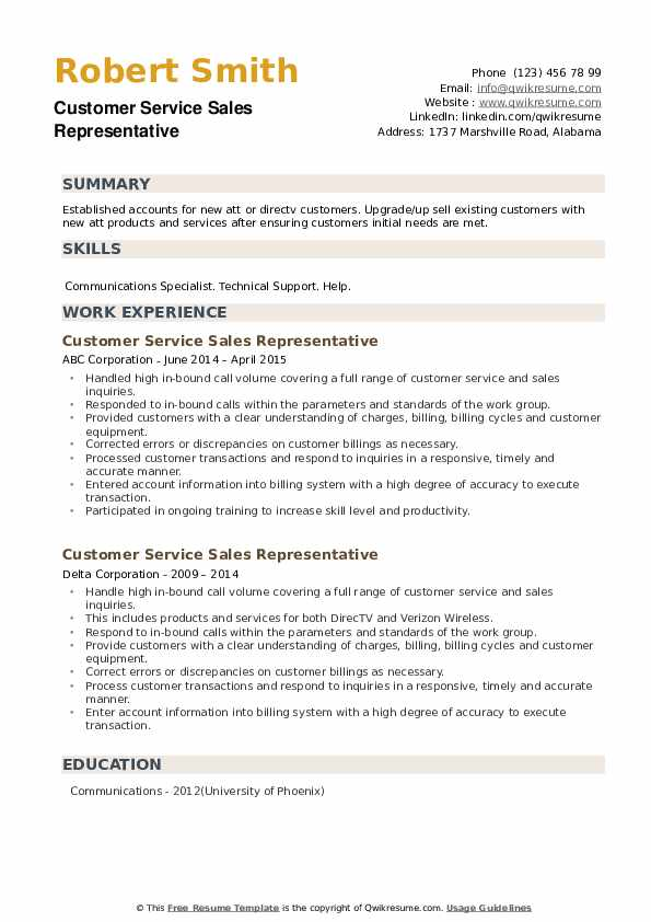 Customer Service Sales Representative Resume example