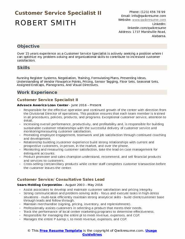 Customer Service Specialist Resume Samples | QwikResume