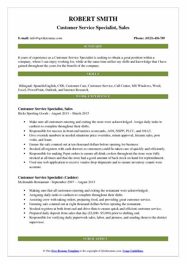 Customer Service Specialist, Sales Resume Example