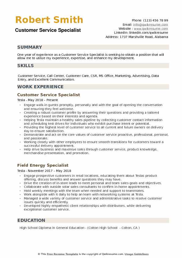 Customer Service Specialist Resume example