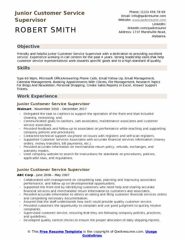 Junior Customer Service Supervisor Resume Example