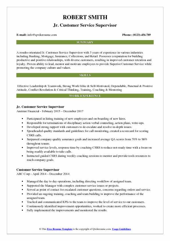Jr Customer Service Supervisor Resume Example