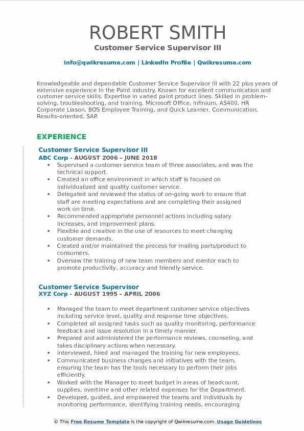 Customer Service Supervisor Resume Samples | QwikResume