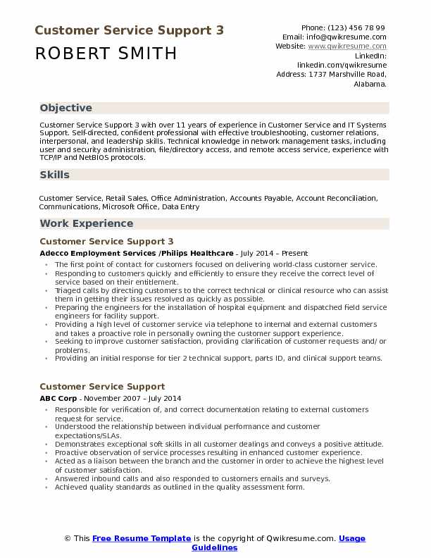 Customer Service Support 3 Resume Format