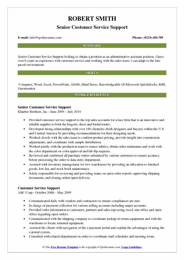 Senior Customer Service Support Resume Example