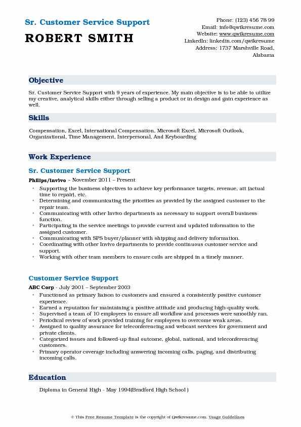 Sr. Customer Service Support Resume Format