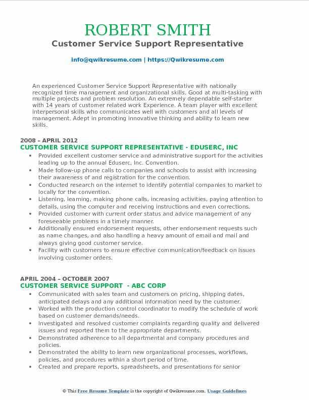 Customer Service Support Representative Resume Sample