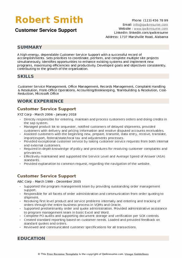 Customer Service Support Resume example
