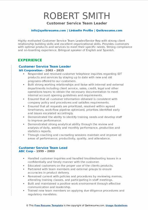 Customer Service Team Leader Resume Example