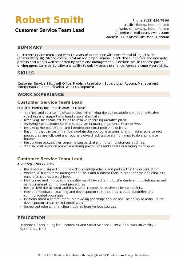 Customer Service Team Lead Resume example