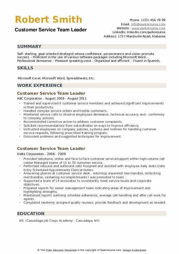 Customer Service Team Leader Resume example