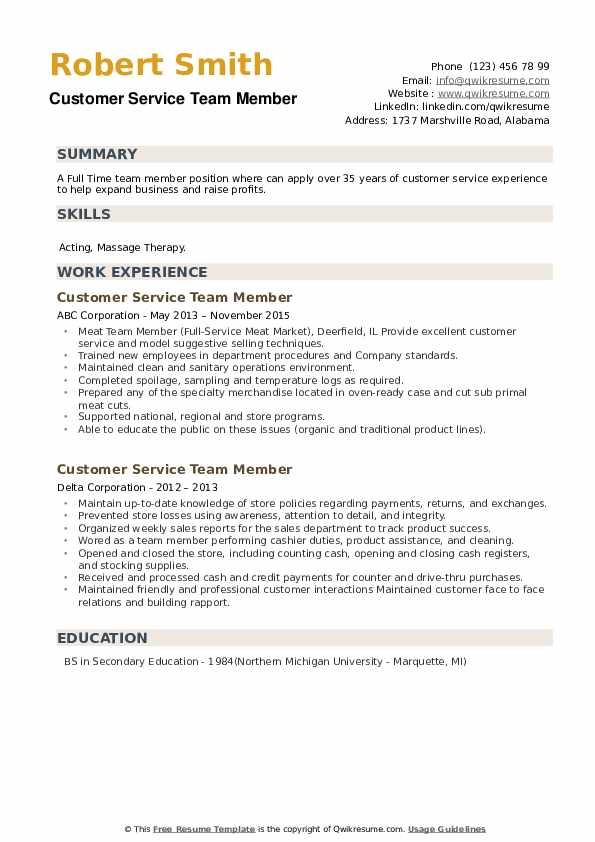 Customer Service Team Member Resume example