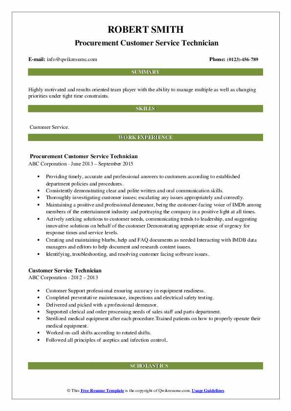 Procurement Customer Service Technician Resume Template