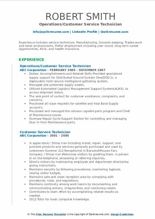 Operations/Customer Service Technician Resume Format