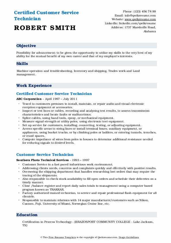 Certified Customer Service Technician Resume Example